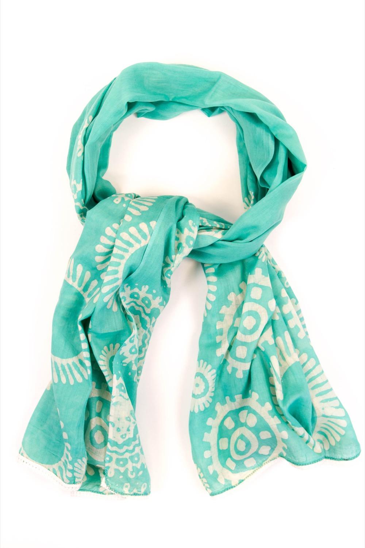 a2e1c83341b3 Foulard coton turquoise motif et dentelle blanc – Oxfam Magasins du ...