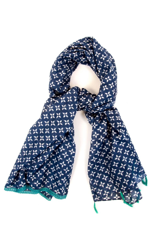 6b8c4e3885ae Foulard coton bleu étoiles blanc+dentelle turqu.