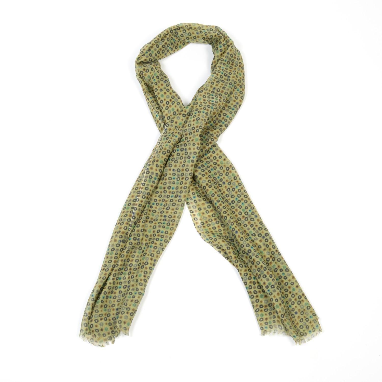077340fb65c Foulard 100% fine laine vert petites fleurs