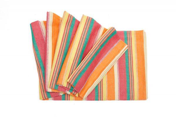 Nappe coton bio lignes rose orange vert oxfam magasins - Nappe pour table exterieur ...