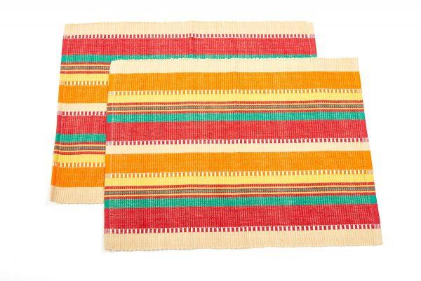 Set de table 2 coton bio lignes rose orange vert oxfam - Set de table coton ...