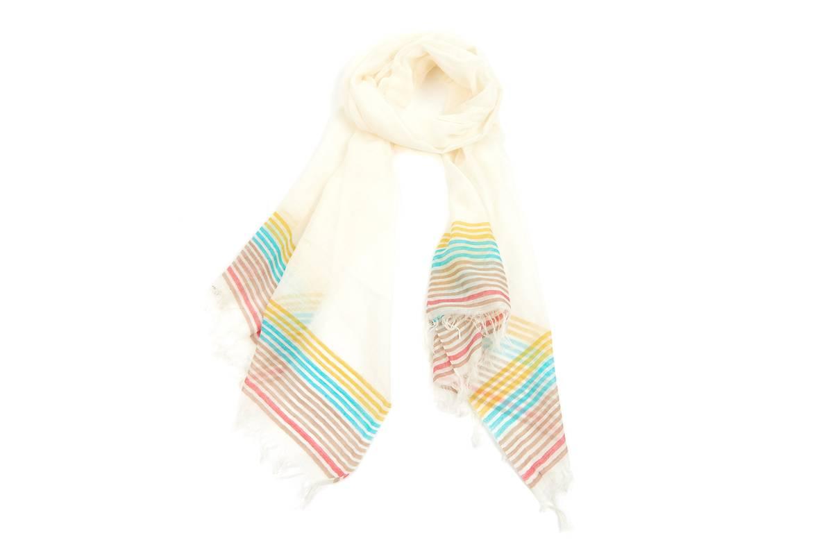 Foulard coton blanc lignes multicouleur jaune 685a7547a6f