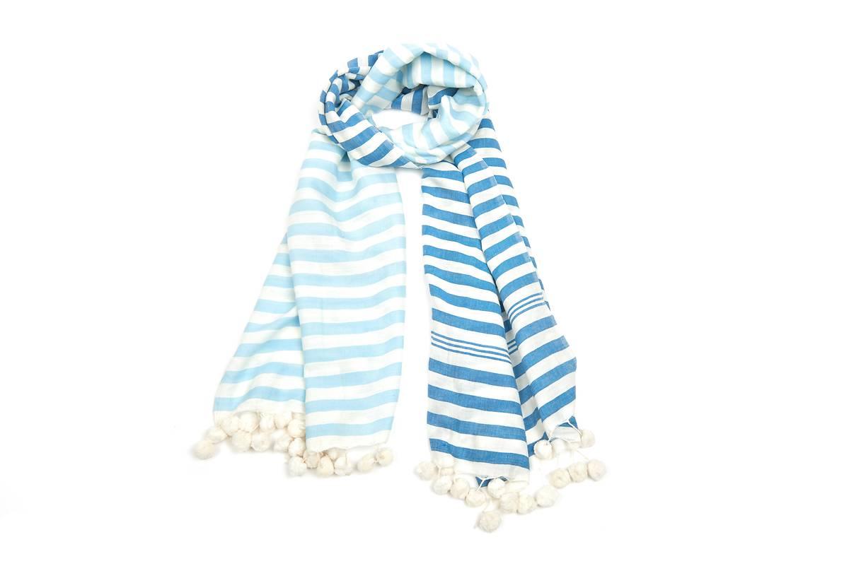 Foulard coton bio lignes bleues pompons blancs 0f64aac1299
