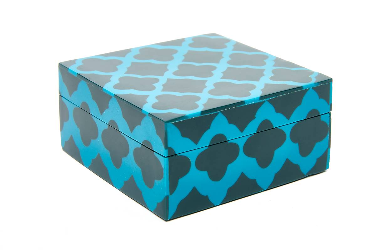 bo te bois carr losange bleu fonc et turquoise oxfam magasins du monde. Black Bedroom Furniture Sets. Home Design Ideas