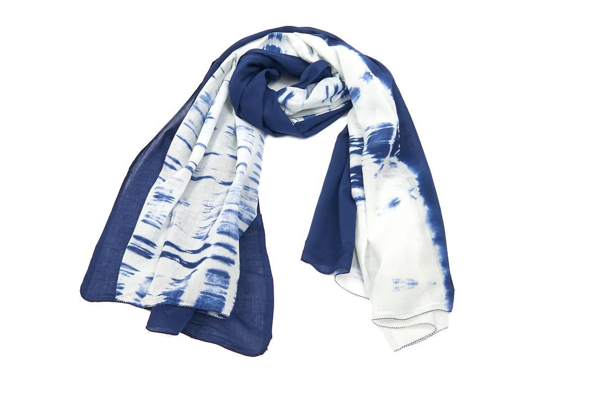 Foulard coton tye-and-dye blanc motif bleu fe044b70308