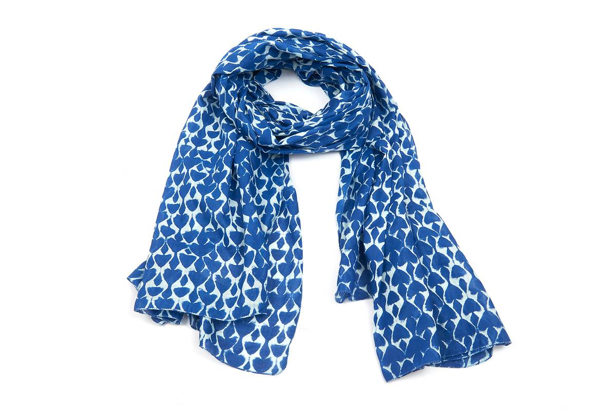 Foulard coton blanc motif ethnique bleu 535646c5c0a