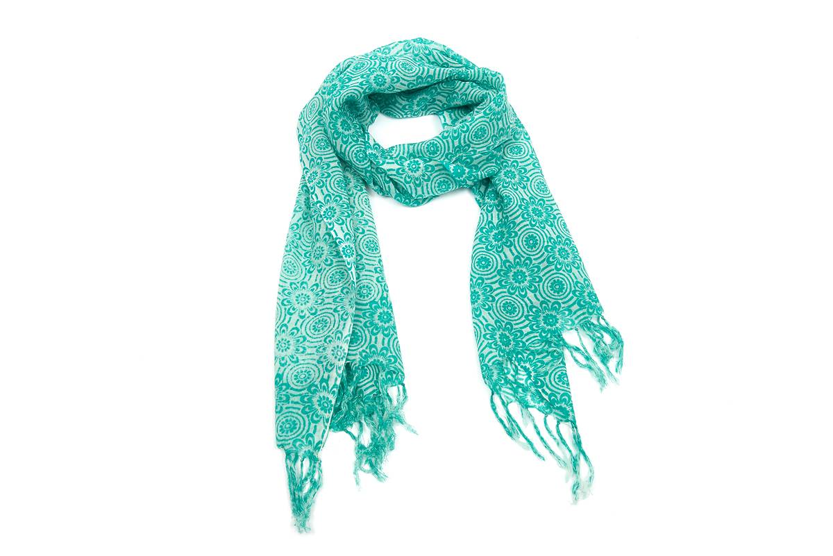 Foulard étamine laine imprimé ethnique turquoise d6b713a591f