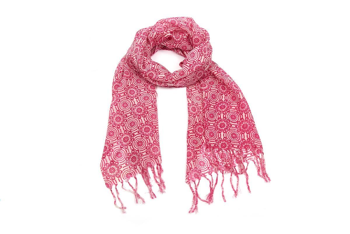 Foulard étamine laine imprimé ethnique fuchsia 75a6490ddfc