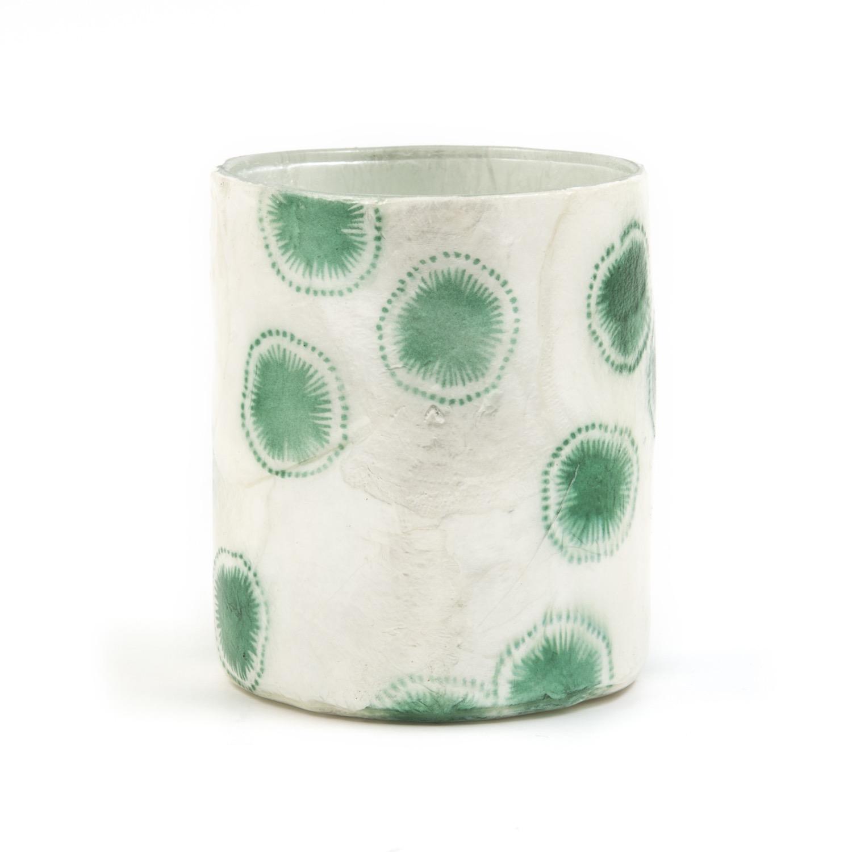 Photophore vase capiz cellule solaire vert piscine oxfam for Vase solaire exterieur